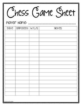 Chess Game Sheet And Data Log  Chess Logs And Gaming