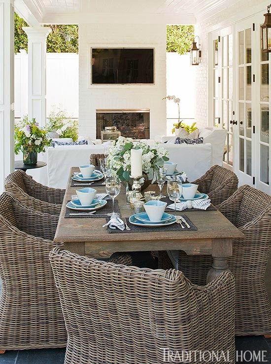"Giuliana And Bill Rancic's Amazing Home! Dining table (""Grand Balustrade Dining Table""); dining chairs (""Provence Bucket Armchair""): Restoration Hardware,  Dinnerware: CB2. http://www.traditionalhome.com/design/beautiful-homes/home-bill-and-giuliana-rancic?page=7. http://www.consumeraffairs.com/homeowners/restoration.html"