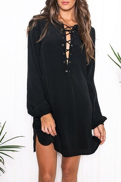 Lace Up Plunging Neck Long Sleeve Dress