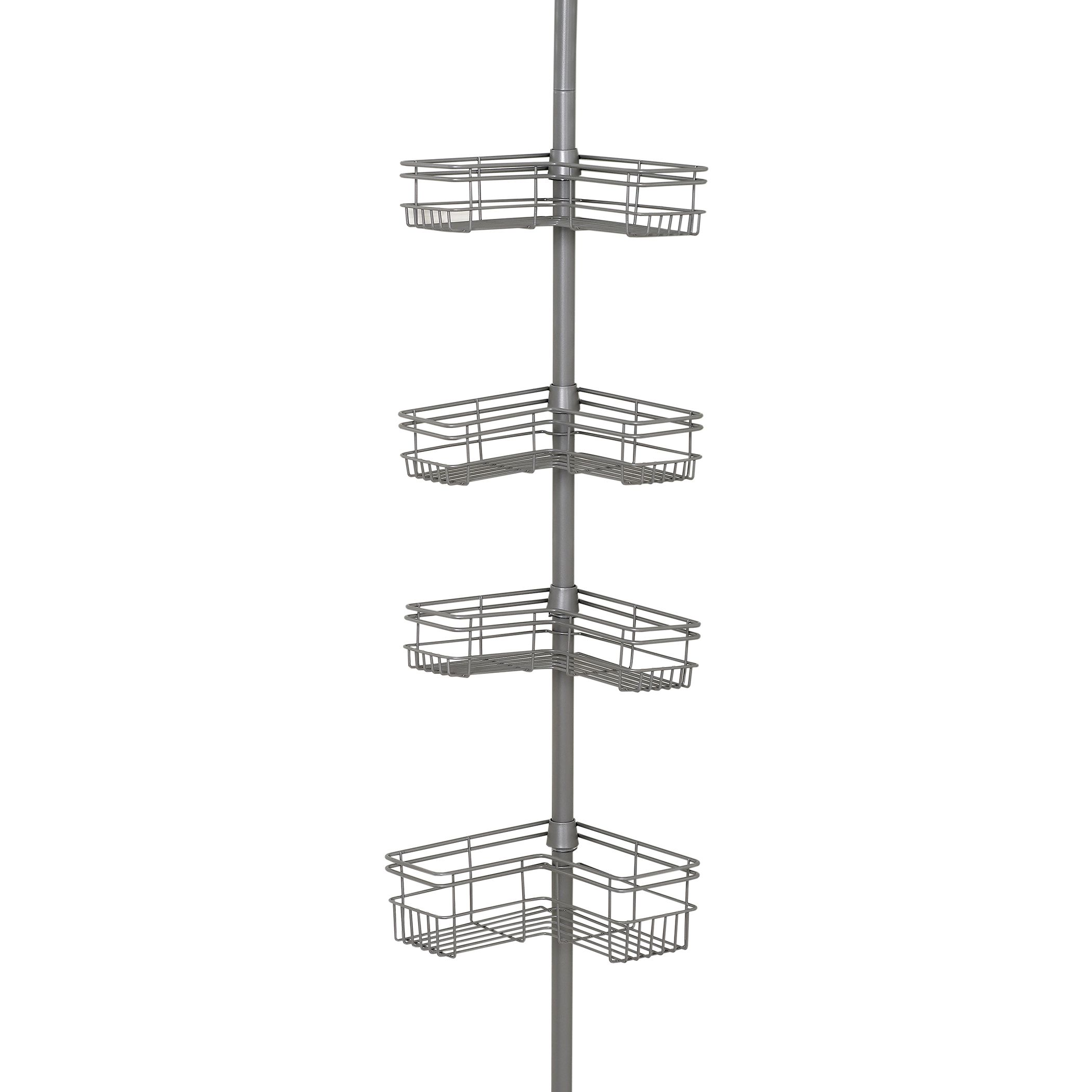 Zenna Home L Shaped Tension Corner Pole Shower Caddy Satin Nickel