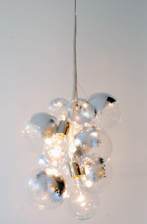 SAMPLE SALE: Aluminum Leafed/White Leather Pendant Bubble Chandelier by PELLE. $750.00, via Etsy.