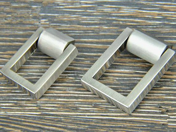 Dresser Pull Knobs Drawer Knob Pulls Handles Drop Rings Silver Nickel Square Kitchen Cabinet Pulls Pull