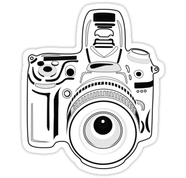 Black and White Camera Sticker  Cartoony camera for any passionate fan of art of photography. • Also buy this artwork on stickers, apparel, kids clothes, and more.