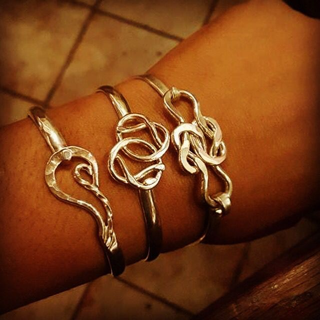 She Loves Her Bracelets The Fire The Friendship Knot And The Fried Ship Latching Designs Silver Bangles Bracelets Friendship Knot