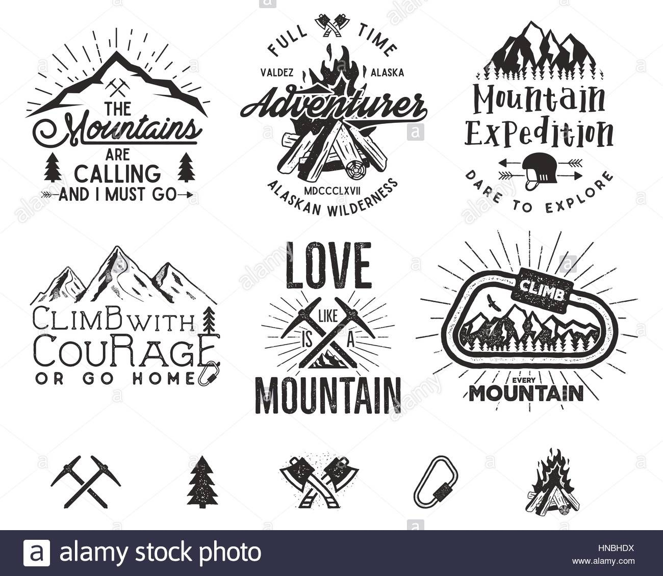 Set of mountain climbing labels, mountains expedition