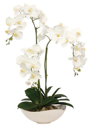 White Orchid Faux Flower Arrangement Arranjos De Flores Artificiais Orquideas Brancas Arranjos De Flores Brancas