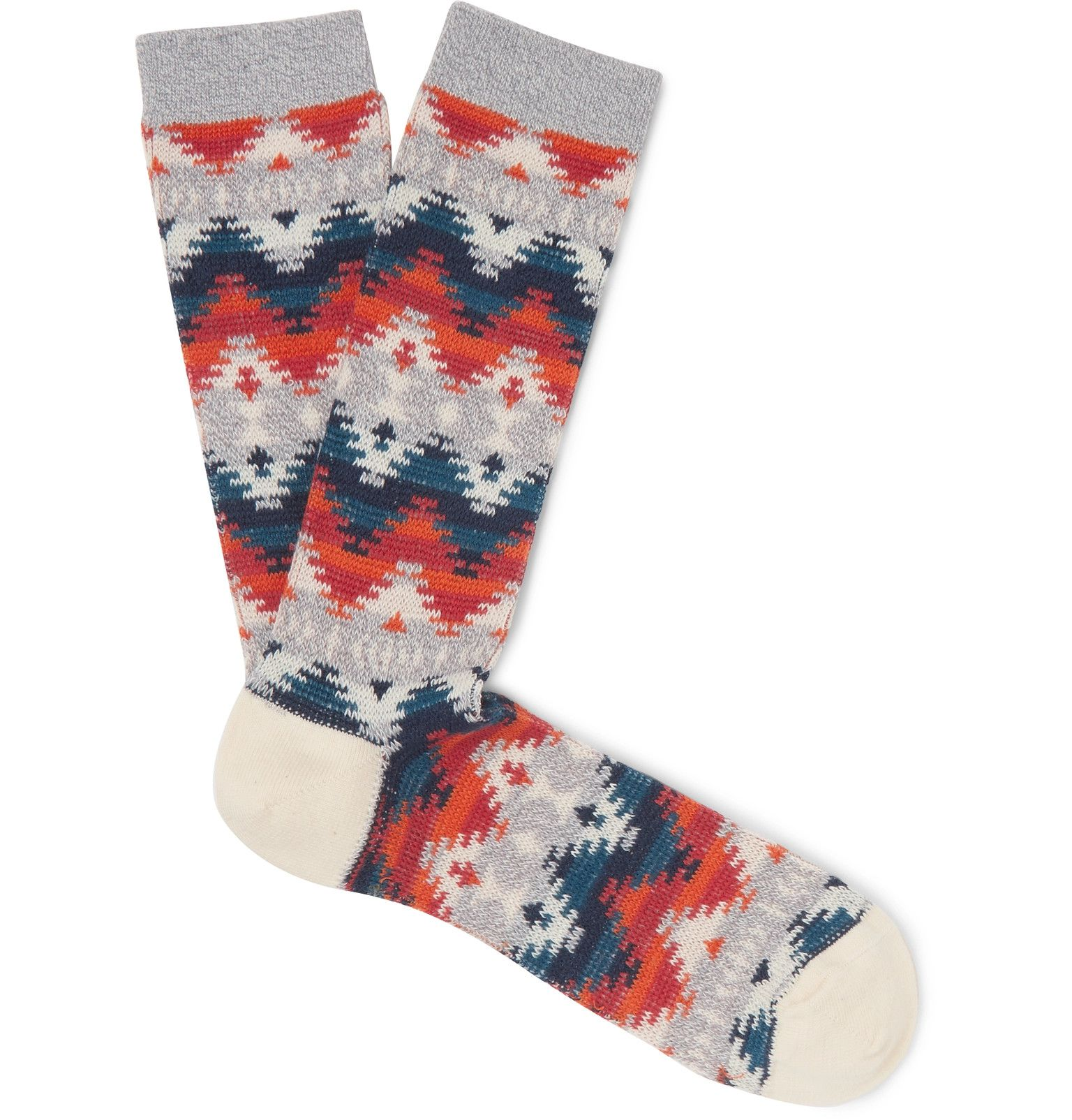 de8734527e3de Anonymous Ism - Cotton-Blend Jacquard Socks | SS 20 | BEACHCOMBER ...