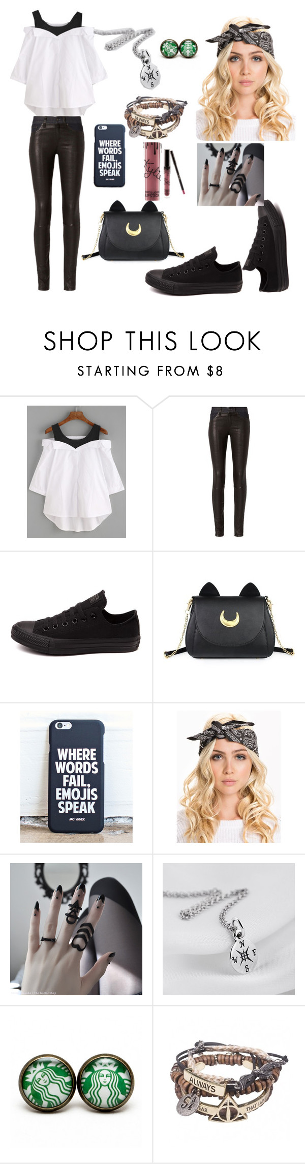 """""""Untitled #155"""" by courtneybells ❤ liked on Polyvore featuring beauty, rag & bone, Converse, Usagi and Kylie Cosmetics"""