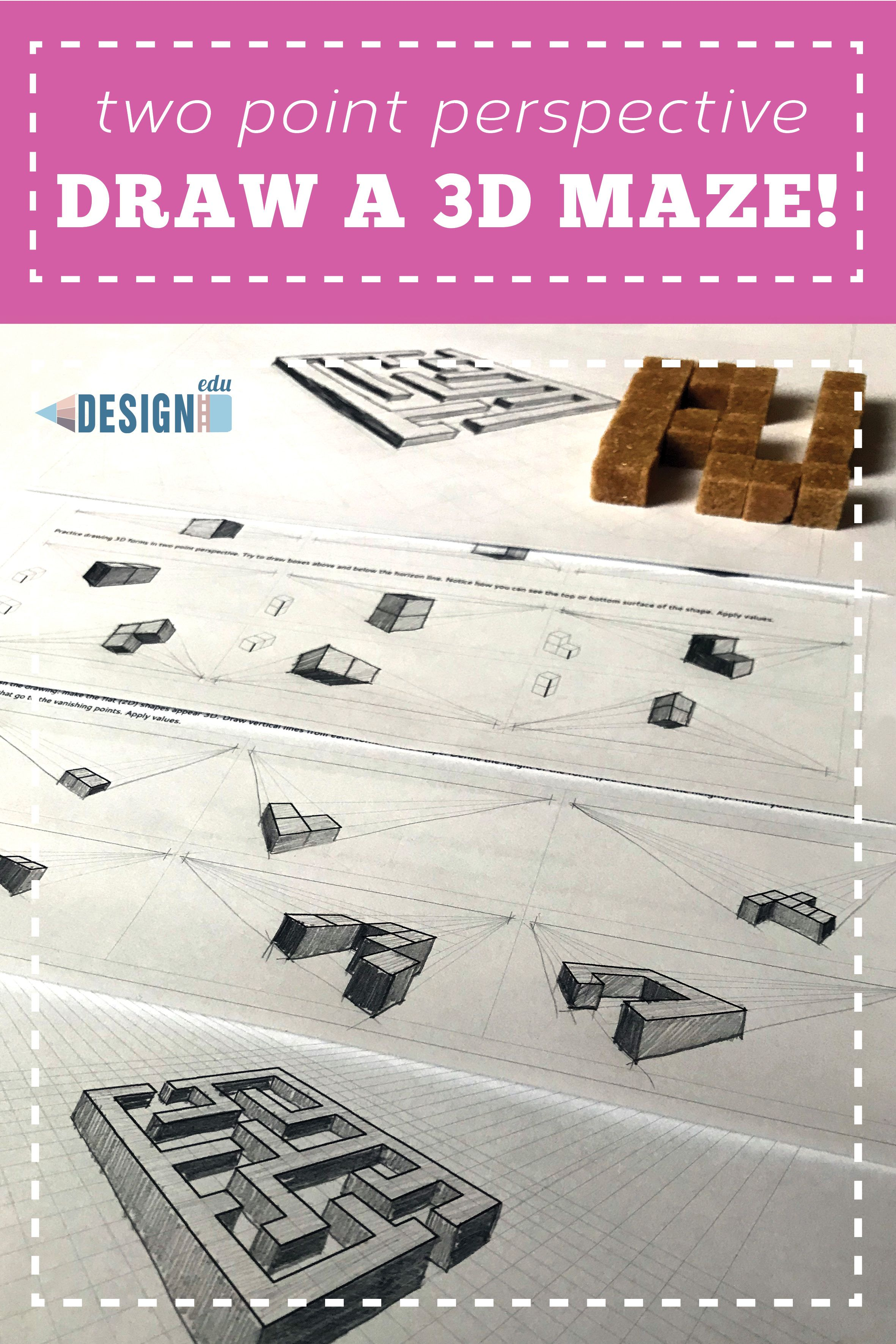 Draw A 3d Maze Two Point Perspective Drawing Lesson In