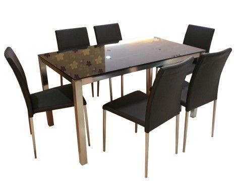 YA 068DT Modern Black Glass Dining Table+Y 837CH Modern PU Dining Chair Part 33