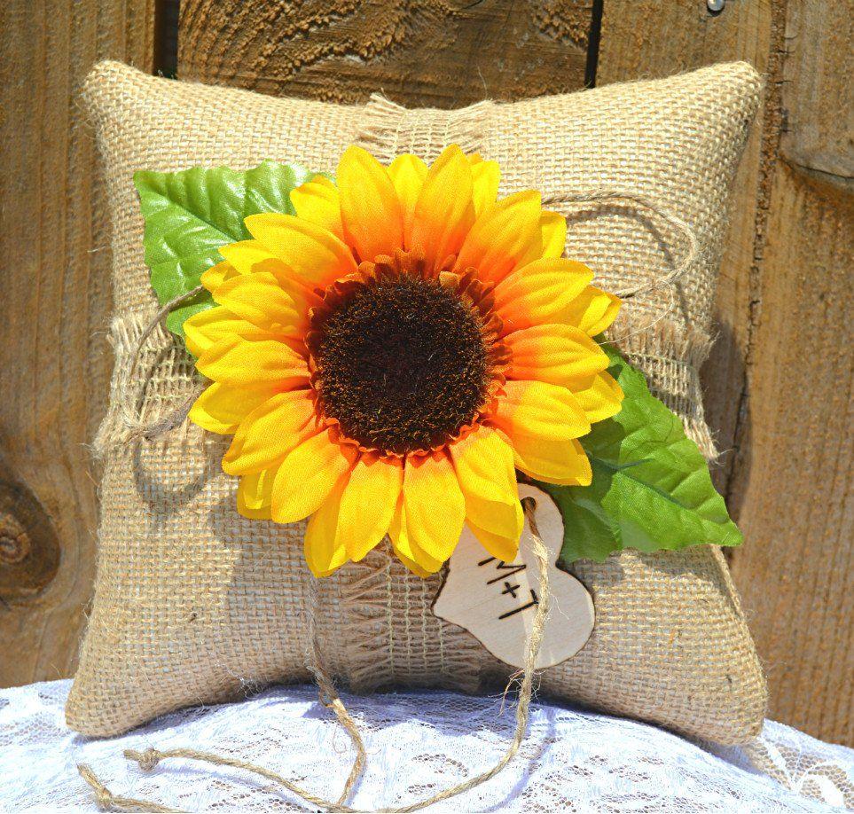 Burlap Sunflower Ring Bearer Pillow Burlap ring pillows