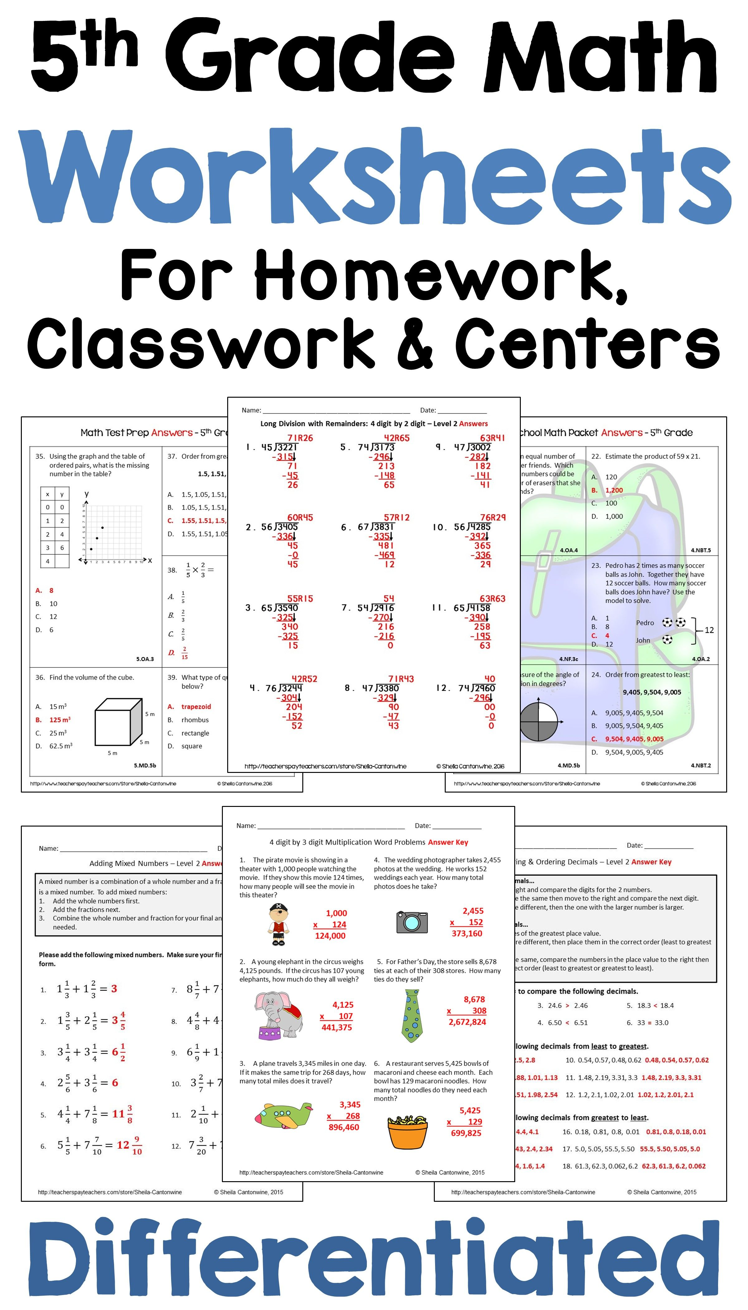 5th Grade Math Differentiated Worksheets For Homework Classwork And Centers 5th Grade Math Math Review Kids Math Worksheets