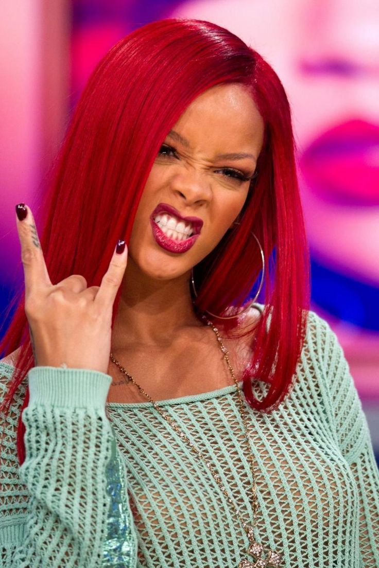 Rihanna ! | Cherry red hair, Bright red hair, Bright red
