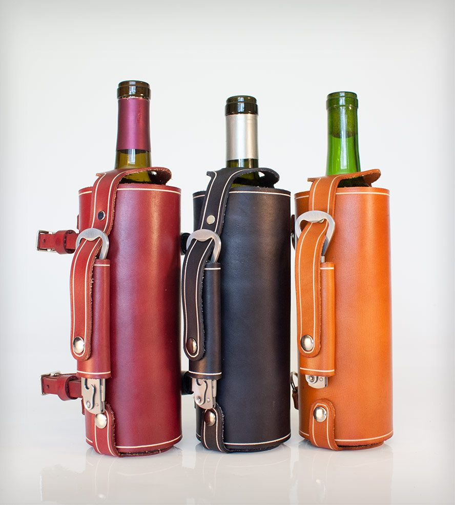 Bicycle Mounted Leather Wine Carrier With Opener Garrafas Porta Vinho Couro