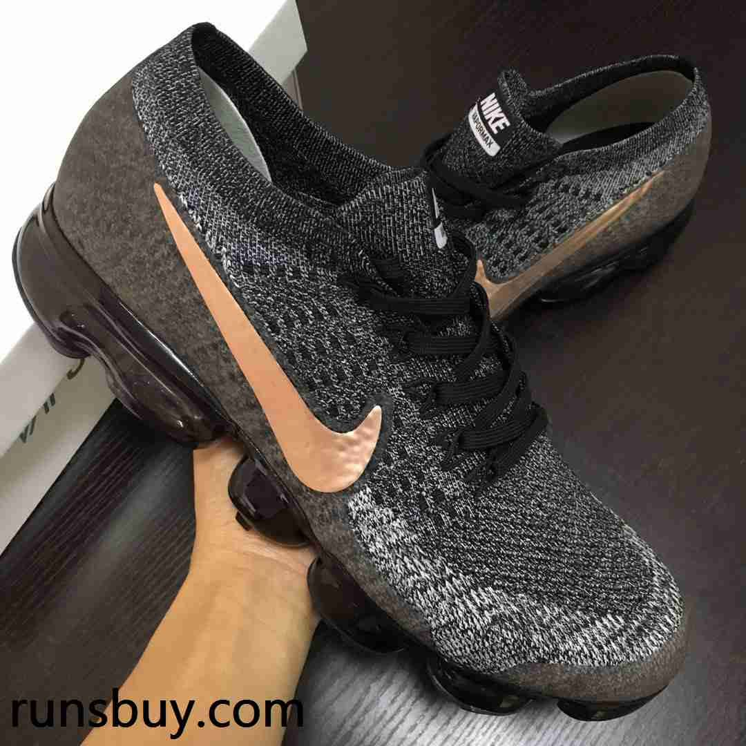 Hot Nike Air VaporMax 2018 Flyknit Black Gray Gold Tick