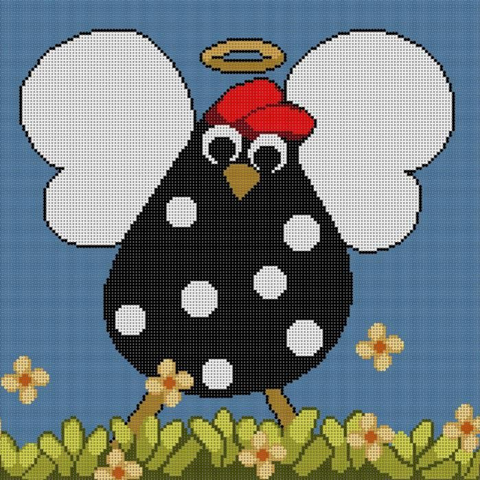 !! HOLY CLUCK !! Whimsical Chicken Angel Needlepoint Canvas by Annie Lane