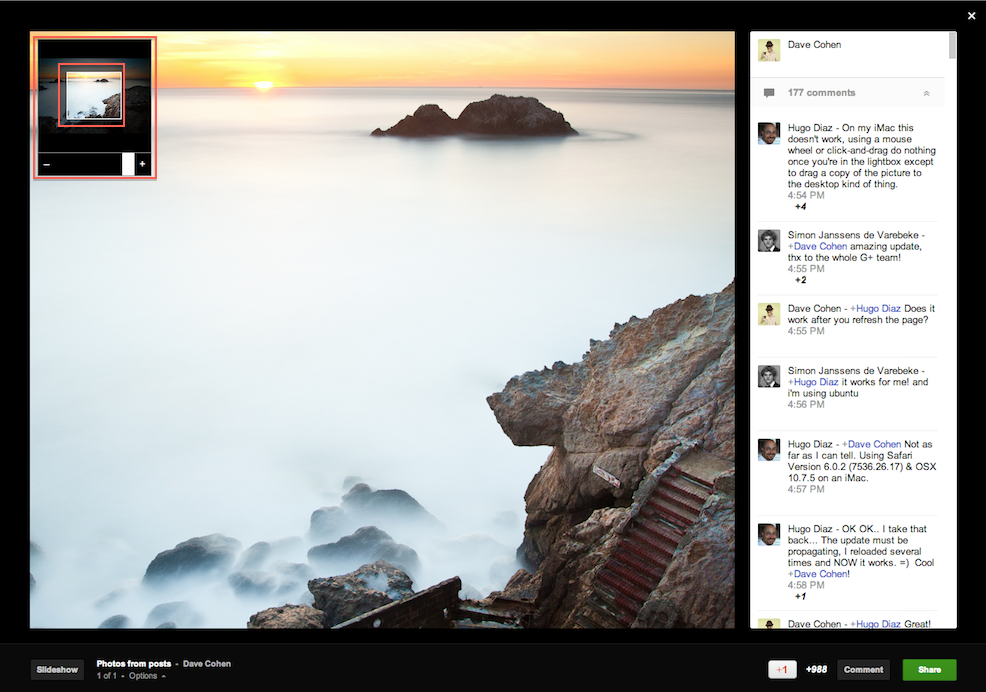 Google+ lightbox offers pan and zoom feature on desktops