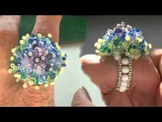 Beading4Perfectionists : Mounted Swarovski / Miyuki  seedbeads ring beading tutorial
