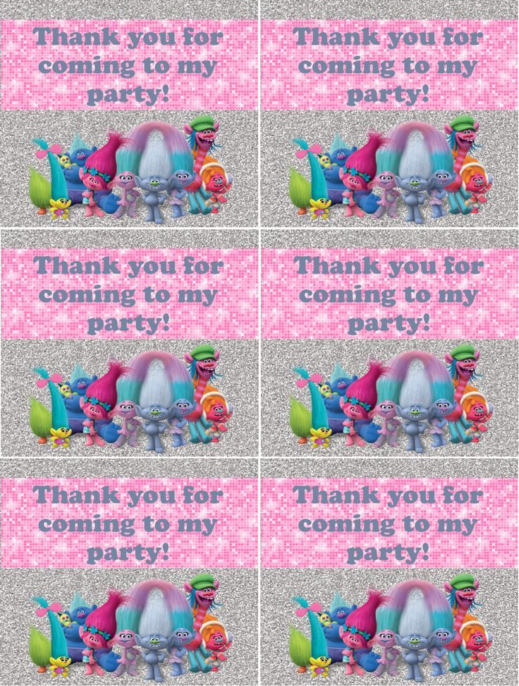 trolls birthday party thank you notes free printable i made this for my daughter 39 s party it is. Black Bedroom Furniture Sets. Home Design Ideas