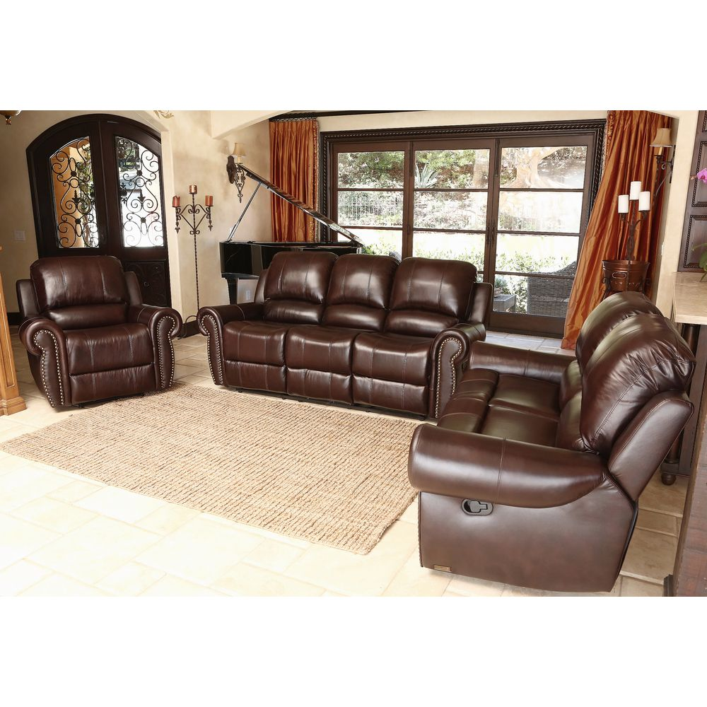 Overstock Living Room Sets Part - 17: Abbyson Living Broadway Premium Top-grain Leather Reclining Sofa Set |  Overstock™ Shopping -