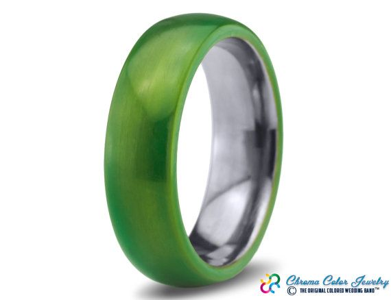 Mens Wedding BandGreen Tungsten RingGreen by ChromaColorJewelry
