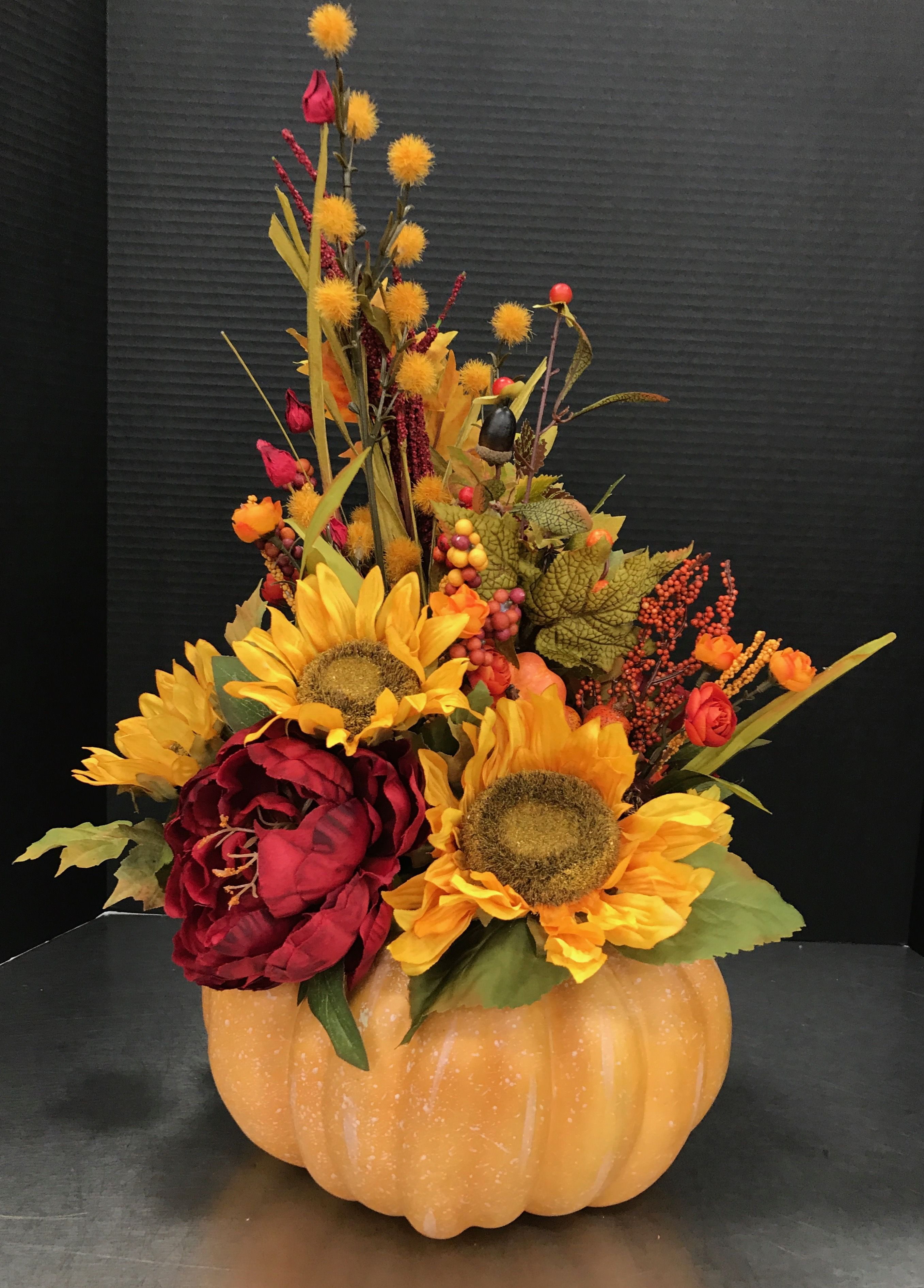 Sunflower Pumpkin 2017 By Andrea Fall Flower Arrangements Fall