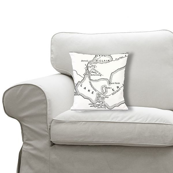 "Cushion Antique Map of Detroit Area during the War of 1812 19th Century 12"" square cushion made in the UK"