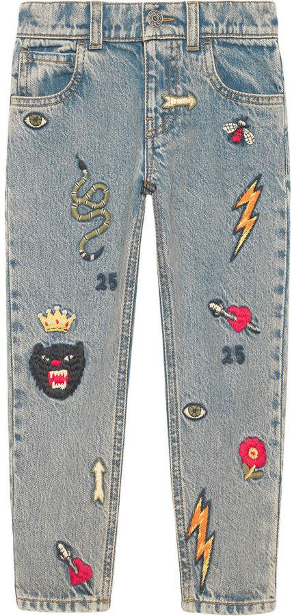 8c8018da Gucci Kids Children's embroidered denim pants | Art reference ...