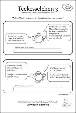 Teekesselchen Rätsel Für Kinder Arbeitsblätter Pinterest