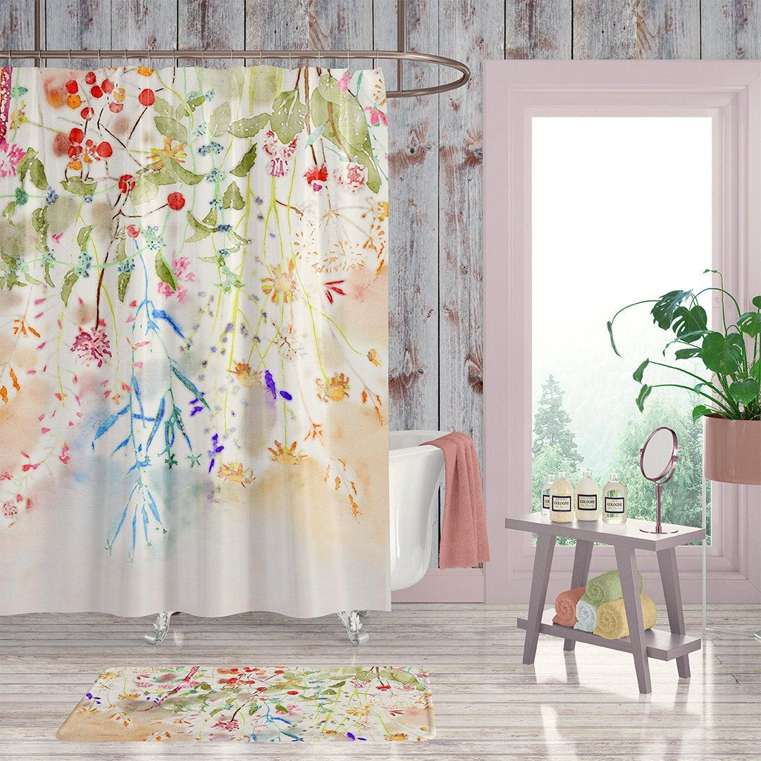 Watercolor Floral Extra Long Shower Curtain Floral Shower