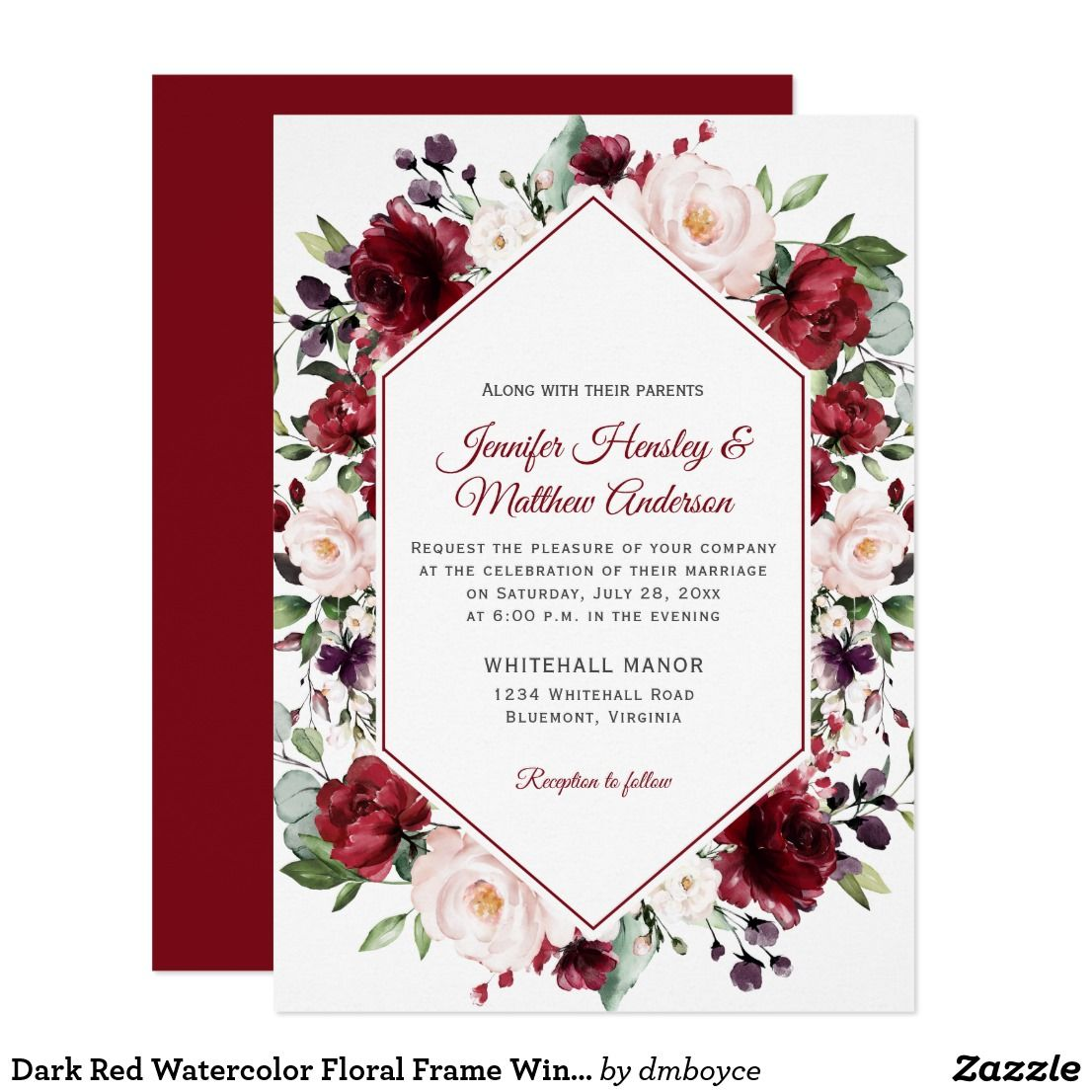 Dark Red Watercolor Floral Frame Winter Wedding Invitation