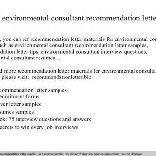 Environmental Consultant Recommendation Letter In This File You