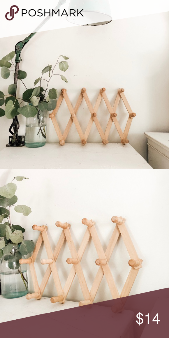 Light Wood Accordion Rack Hanging Wall Art Wood Hanging Hooks
