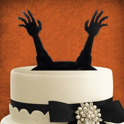 aMonogramArtUnlimited Haunted Grave Painted Cake Topper Products - halloween cake decorations