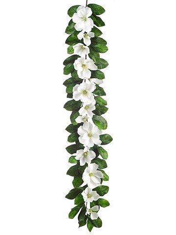 Magnolia Silk Flower Garland In White Br 6 Long Flower Garland Wedding Christmas Wedding Flowers Flower Garlands