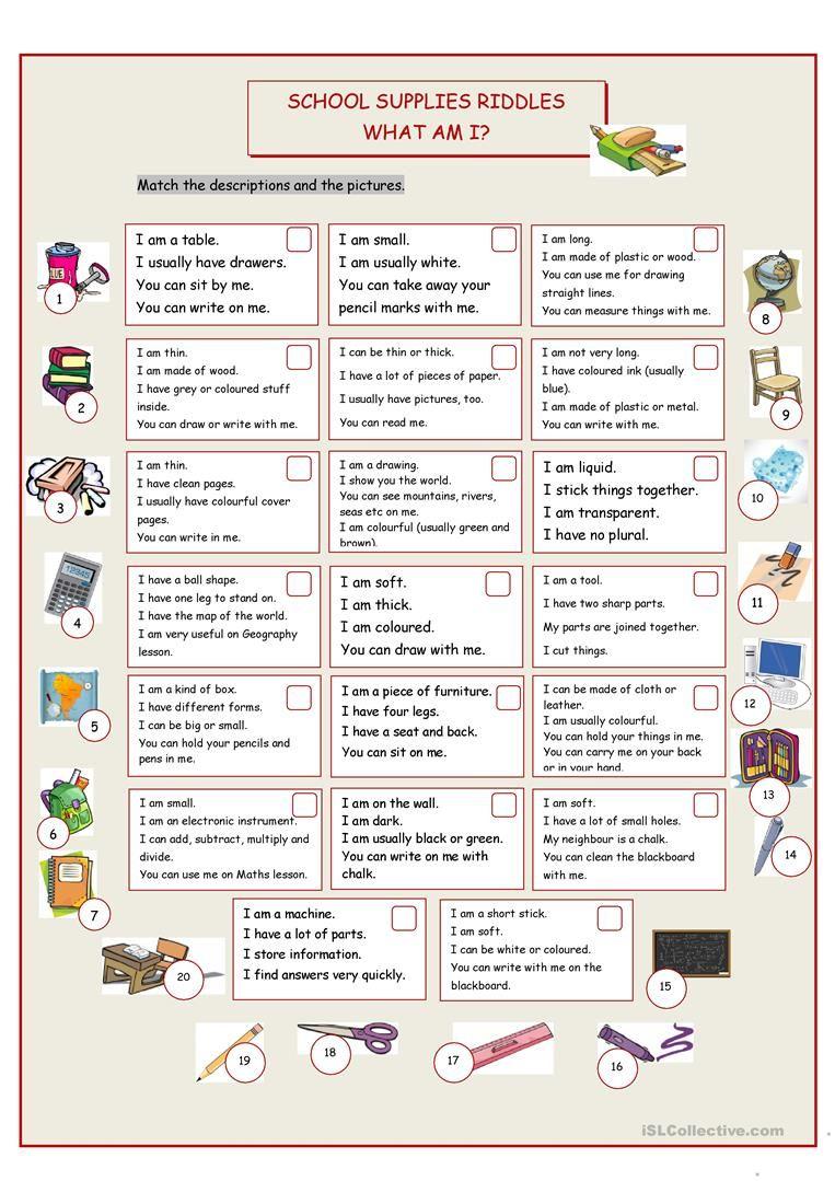 What Am I? (School Supplies Riddles) worksheet Free ESL