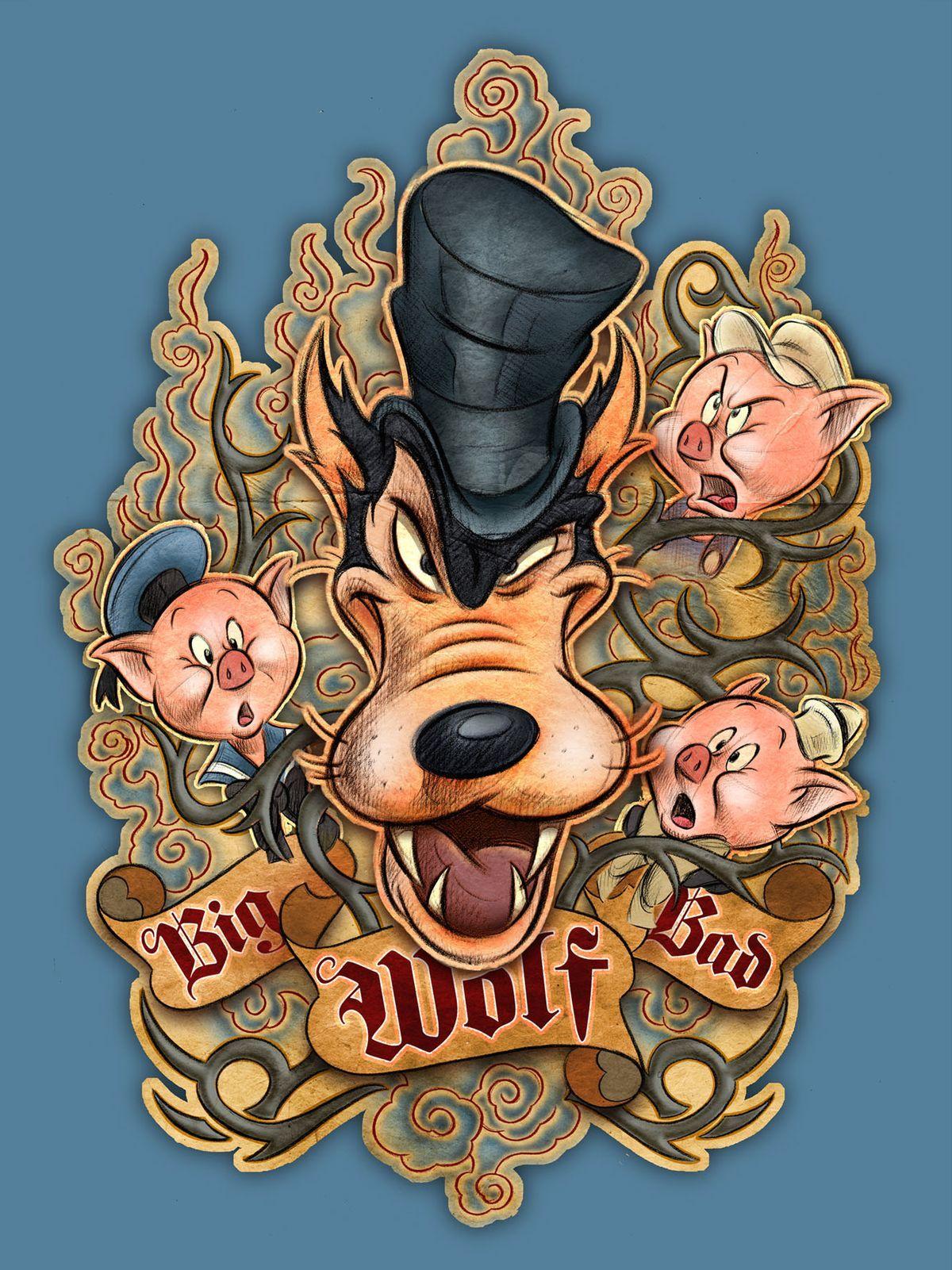 3eba060fee225f1e50abf62ead2ea20a Jpg 1 200 1 601 Pixels Bad Wolf Tattoo Pig Art Big Bad Wolf
