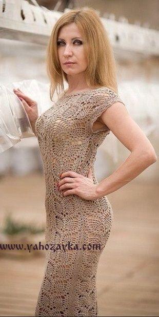 кружевное платье крючком описание длинное платье для лета крючком