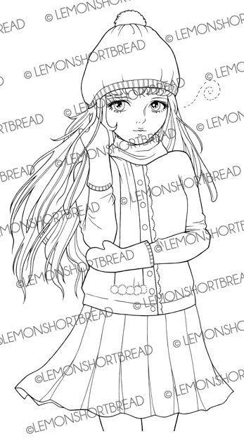 Digital Stamp Winter Cardigan Girl Digi Printable Colouring Etsy Digital Stamps Anime Christmas Digi Stamp