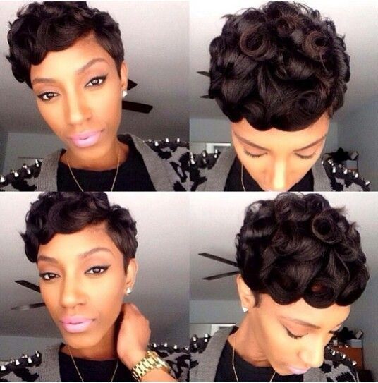 Pin curl shortcut sew in hair work 2 pinterest pin curl shortcut sew in urmus Images