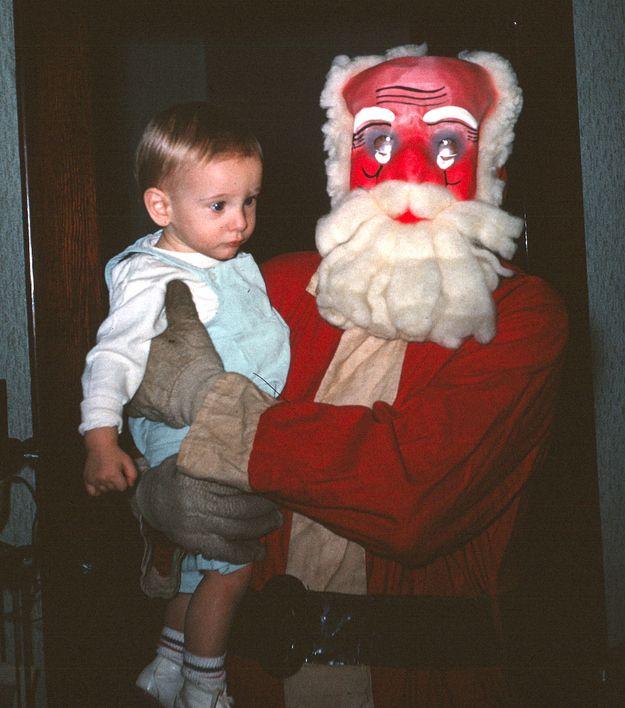 A Diy Costume Gone Terribly Terribly Wrong Creepy Vintage Creepy Christmas Santa Claus Photos