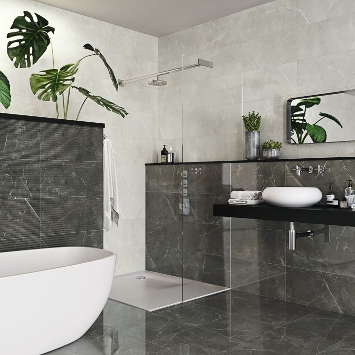 the anubise range of grey marble effect tiles offers a wonderful