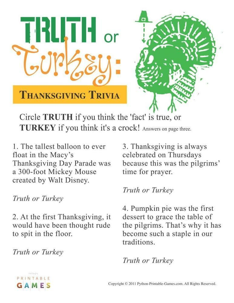 Thanksgiving Truth Or Turkey Trivia 695