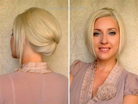 Short hair updo for work office job interview Elegant formal hairstyle for mediu… Short hair ...