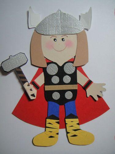 Super Hero Thor Paper Doll Paper Die Cut Scrapbook Embellishment
