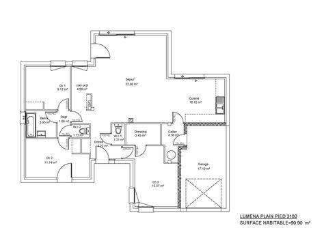 Modèles et plans de maisons > Modèle de plain-pied Luména plain pied. Constructions Demeures ...