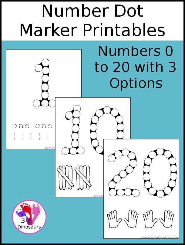 Free Number Dot Marker Pages 0 to 20 | Markers, Count and Number