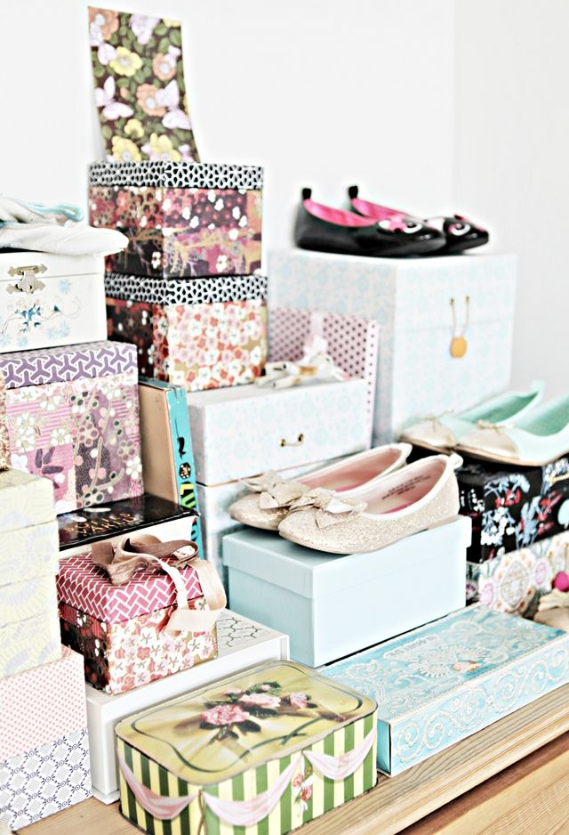 mokkasin pretty boxes pretty storage using shoe boxes. Black Bedroom Furniture Sets. Home Design Ideas