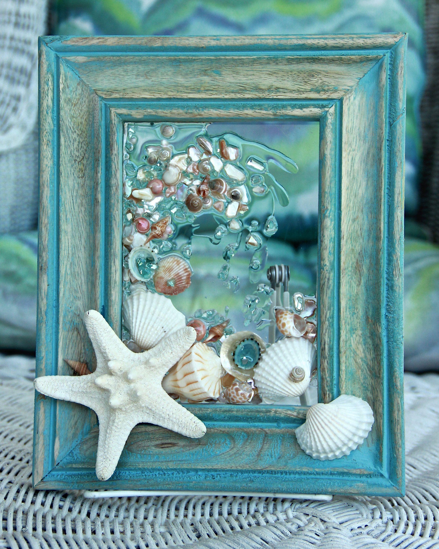 Seashell Art With Starfish Sea Glass Art Beach Home Decor Wall Hanging Glass Beach Art Coastal Wall Art Be Sea Glass Art Seashell Wall Art Beach Glass Art