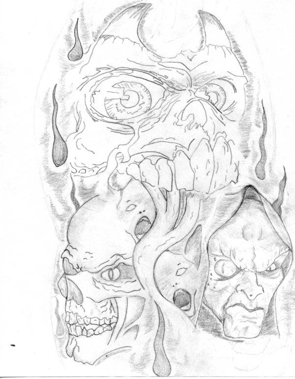 Evil Half Sleeve Tweeked By Tantra Vw On Deviantart Half Sleeve Tattoos Drawings Tattoo Drawings Half Sleeve Tattoo